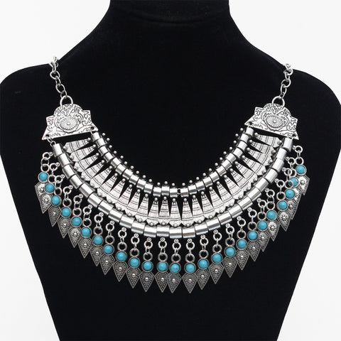 2016 Fashion Power choker Statement Bohemian necklace pendants Vintage Coin gypsy ethnic Silver maxi Necklace Women fine Jewelry - Crystalline