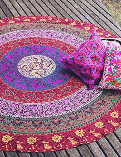 Indian Round Mandala Tapestry Wall Hanging Throw Towel Beach Yoga Mat - Crystalline