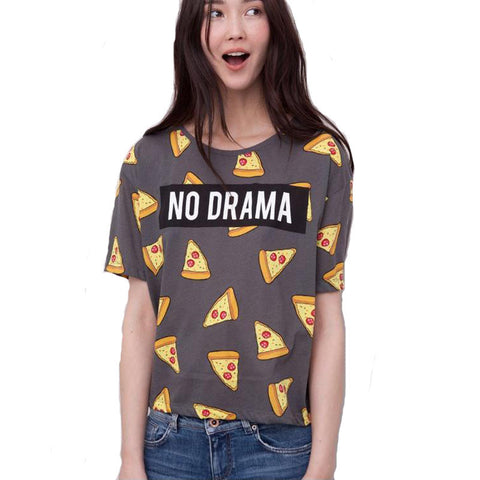 2016 New Pizza letters print T shirt Women cute Cake NO DRAMA tops short sleeve shirts casual - Crystalline
