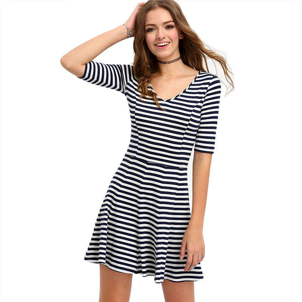 ‰÷  Black and White Striped Half Sleeve Short Fit and Flare Dress‰÷