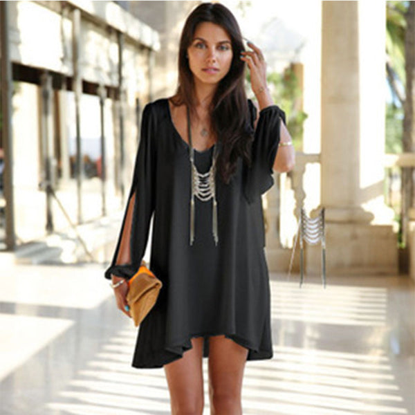 2016 New Summer Chiffon Short Dress Women Loose Sexy V Neck Strapless A-line Casual Mini Shirt Dress White Beach Thin Dresses - Crystalline