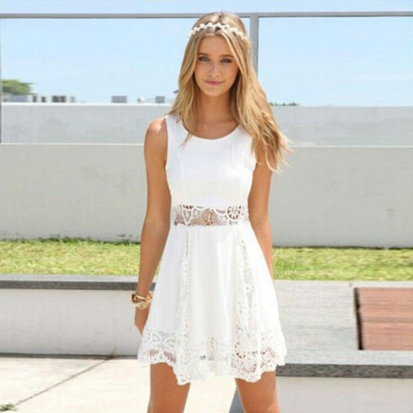 2016 Summer Style White Dress Women Casual Solid Lace Strapless Sexy A-line Short Mini Dresses - Crystalline