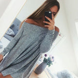 ‰÷  Loose grey casual shirt dress ‰÷