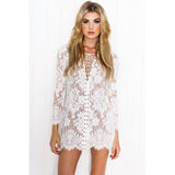 2016 Summer Dress Women Long Sleeve Drawstring V-neck Bodycon Dress  Eyelash Novelty Sexy Mini Dresses - Crystalline