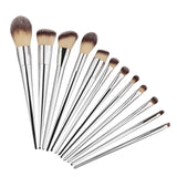 12pcs New Professional Makeup Brushes Set Foundation Blusher Powder Eyeliner Brush Silver Metallic Lustre Handle
