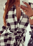 2015  Explosions Leisure Vintage Dresses Autumn Fall Women Plaid Check Print Spring Casual Shirt Dress - Crystalline