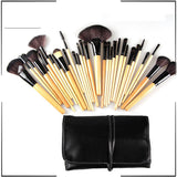 32 PCS Wool Makeup Brushes Tools Set with PU Leather Case Cosmetic Facial Make up