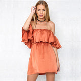‰÷  Ruffles Orange Satin Dress ‰÷