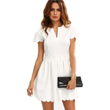 Work Mini Dress Plain White V Cut Scalloped A-Line Dress