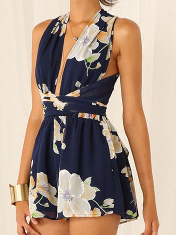Dark Blue Floral Print Sleeveless Romper