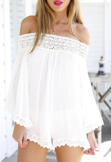 Sexy Romper White Off the Shoulder Jumper