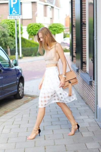 White Skirt Checkered White and Clear Design