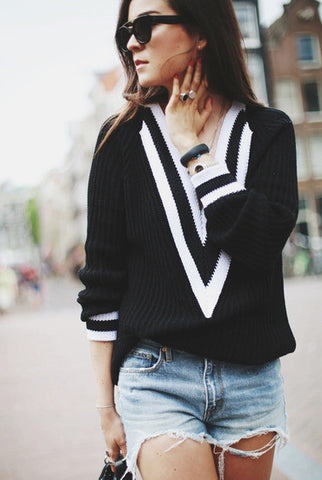 Preppy Deep V Neck Black and White Striped Sweater