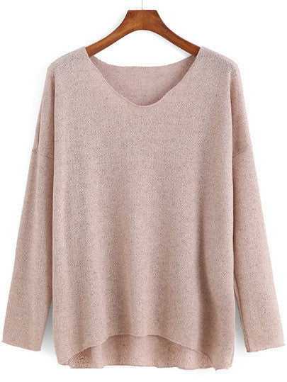 Pink V Neck Light Spring Sweater