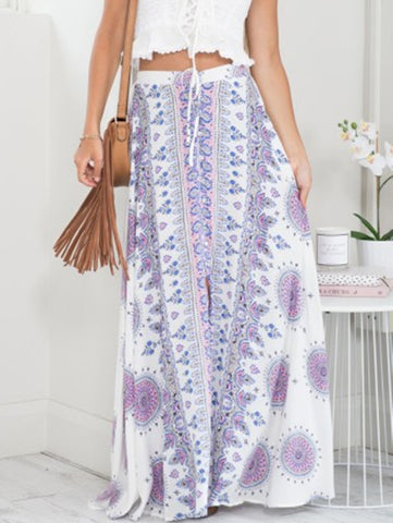 Tribal Print Boho Split Skirt