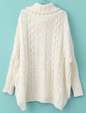 White Turtleneck Cable Knit Chunky Sweater