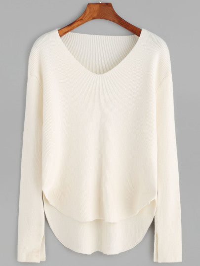 High Low Hem Sweater in White