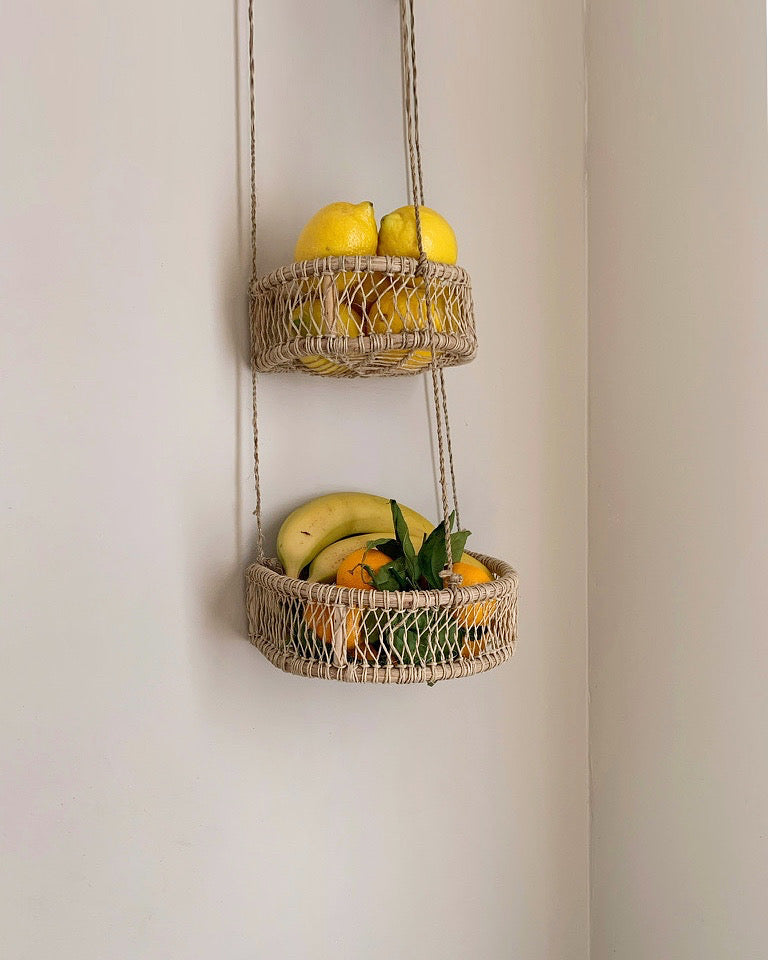Jute hanging fruit basket