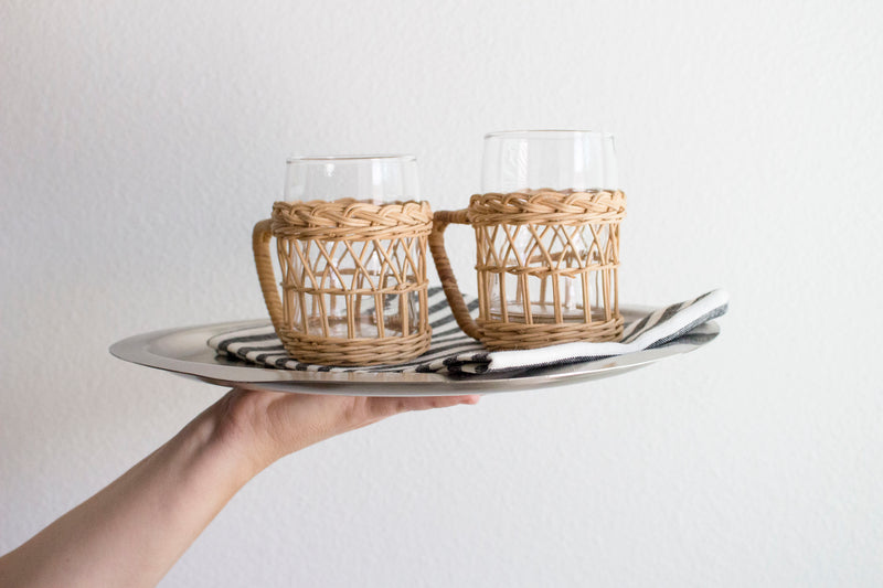 Vintage Rattan and Glass Set - Girl and the Abode