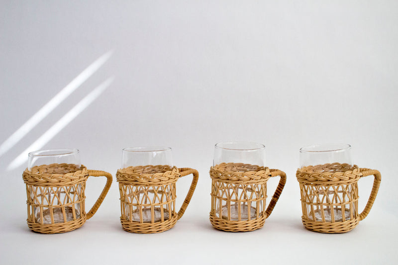 Vintage Rattan and Glass Set