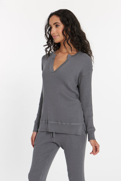 Granite Grey Cabo Cashmere Split Neck Top, var-23477379727418,var-23477379760186,var-23477379792954,var-23477379825722,var-23477379858490