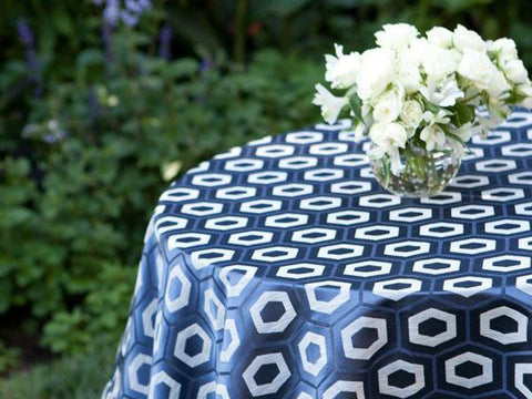 Blue and White Hexagon Pattern Tablecloth