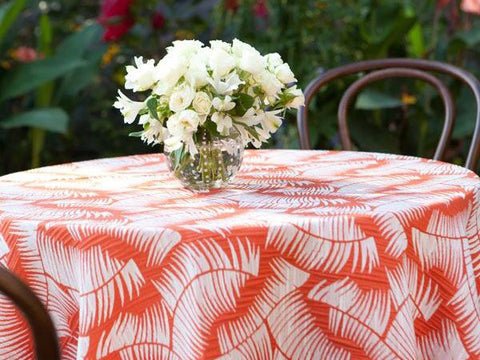 Red and White Fern Pattern Tablecloth