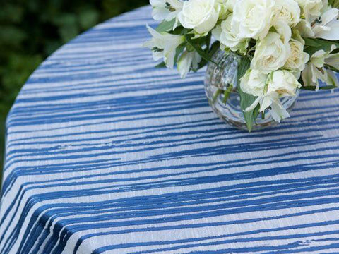 Blue Lines Pattern Tablecloth