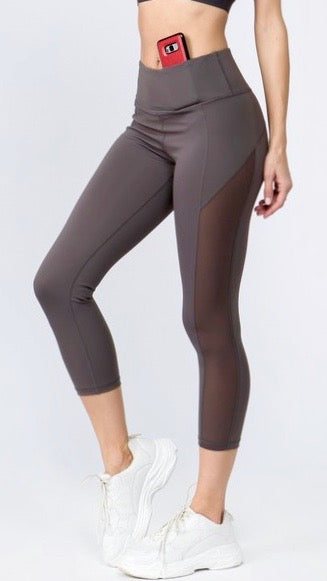 Mesh It Up Capri- Charcoal
