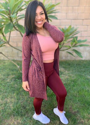 Basic Knit Wrap Cardigan- Burgundy