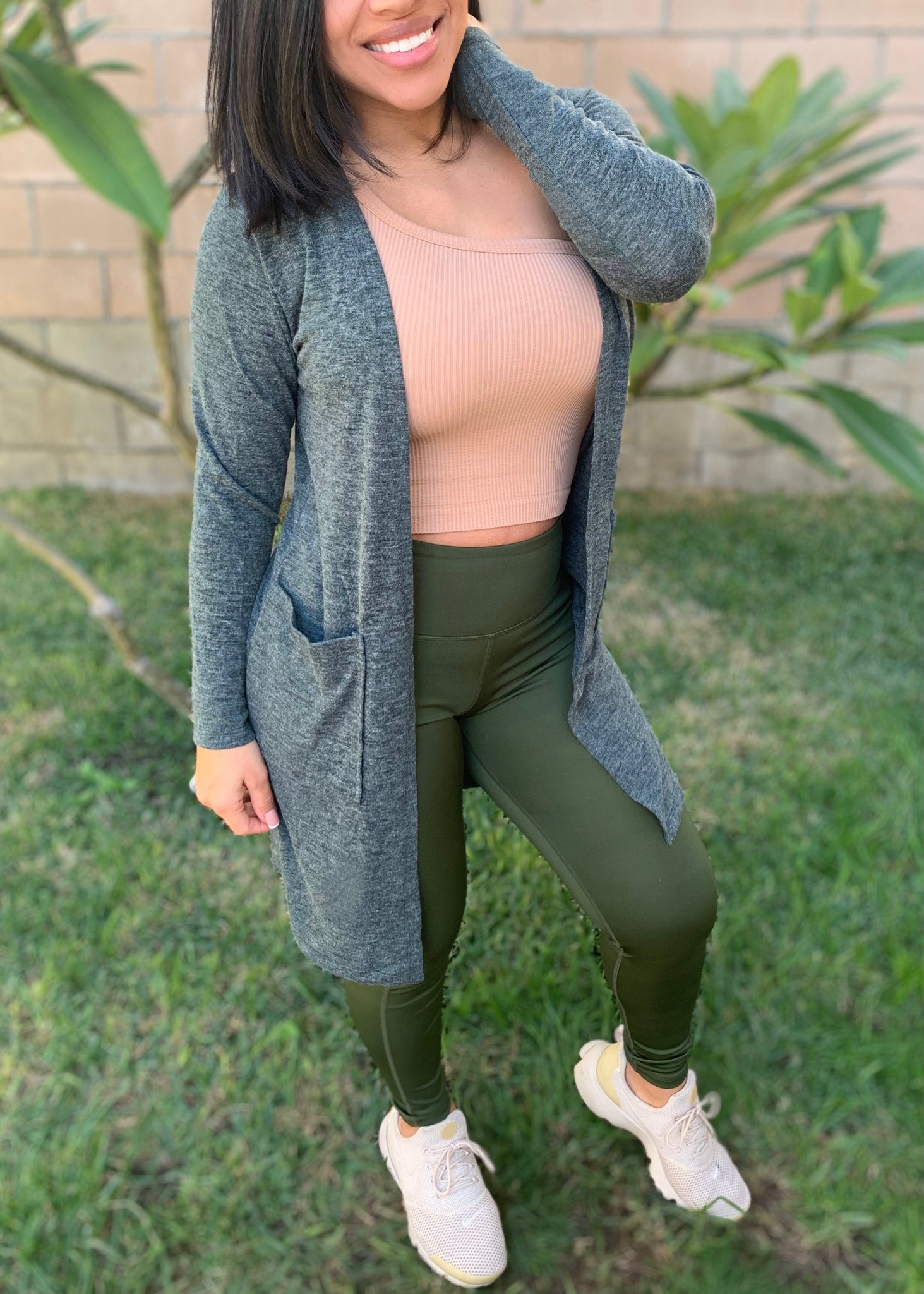 Basic Knit Wrap Cardigan- Forest Green