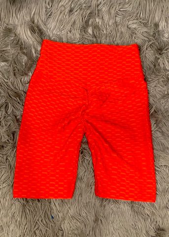 Scrunch Booty Shorts- Red