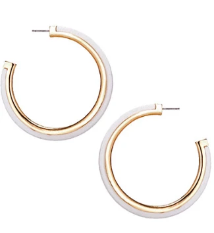 Yankee South White & Gold Large Hoops - Yankee South