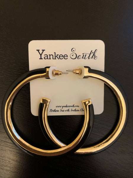 YS Black and Gold Large Hoops