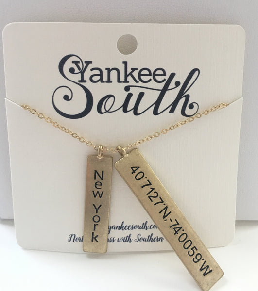 Yankee South New York Double Vertical Bar Necklace - Yankee South