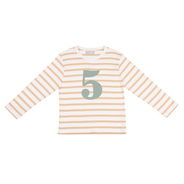 Biscuit & White Breton Striped Number 5 T Shirt (Green)