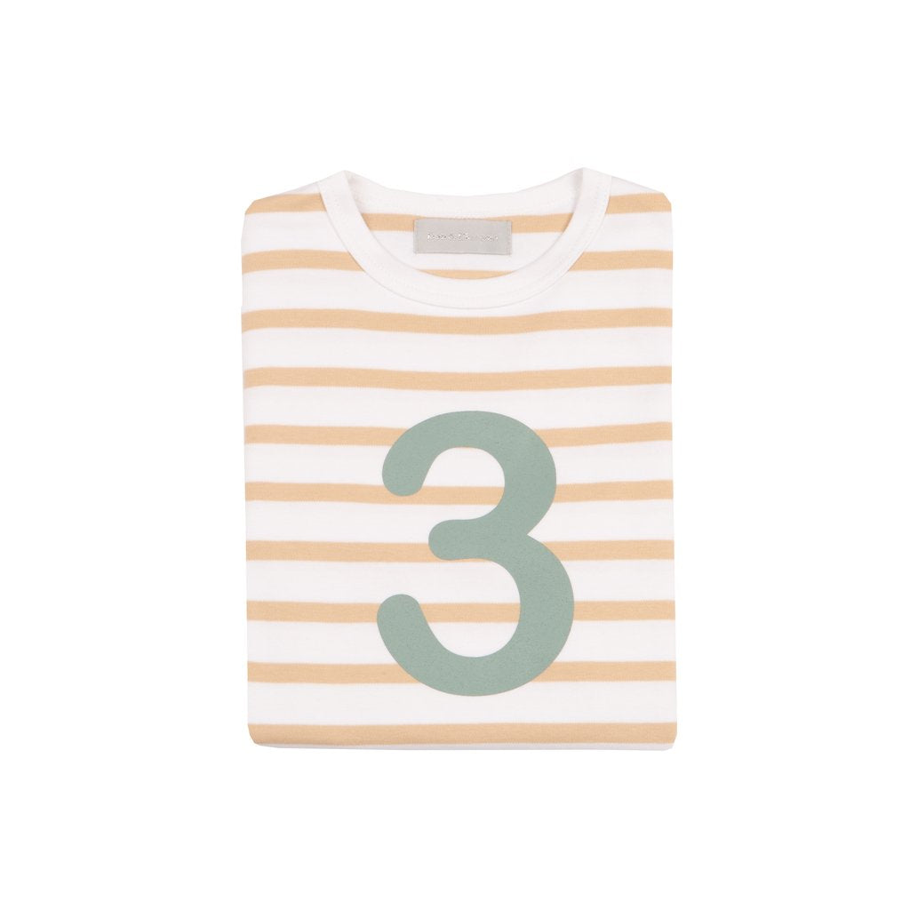 Biscuit & White Breton Striped Number 3 T Shirt (Green)