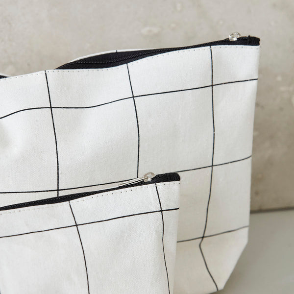 Makeup bag, squares, white