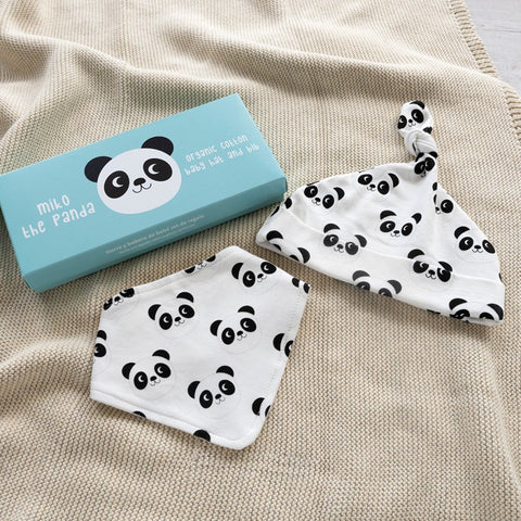 Miko the panda organic cotton babies hat and bib set