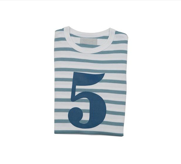 Ocean blue & white breton striped T shirt - 5