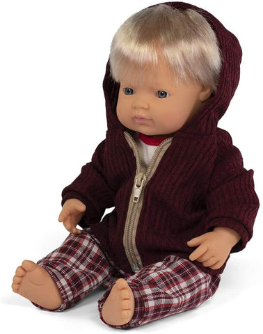Miniland boy baby doll with winter clothes set- 38 cm