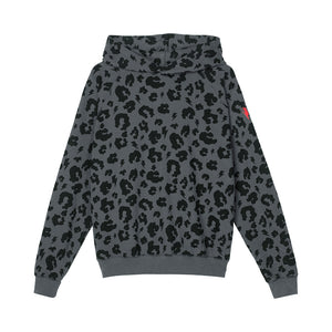 Adult Super Soft Hoodie Grey Leopard and Lightning Bolt