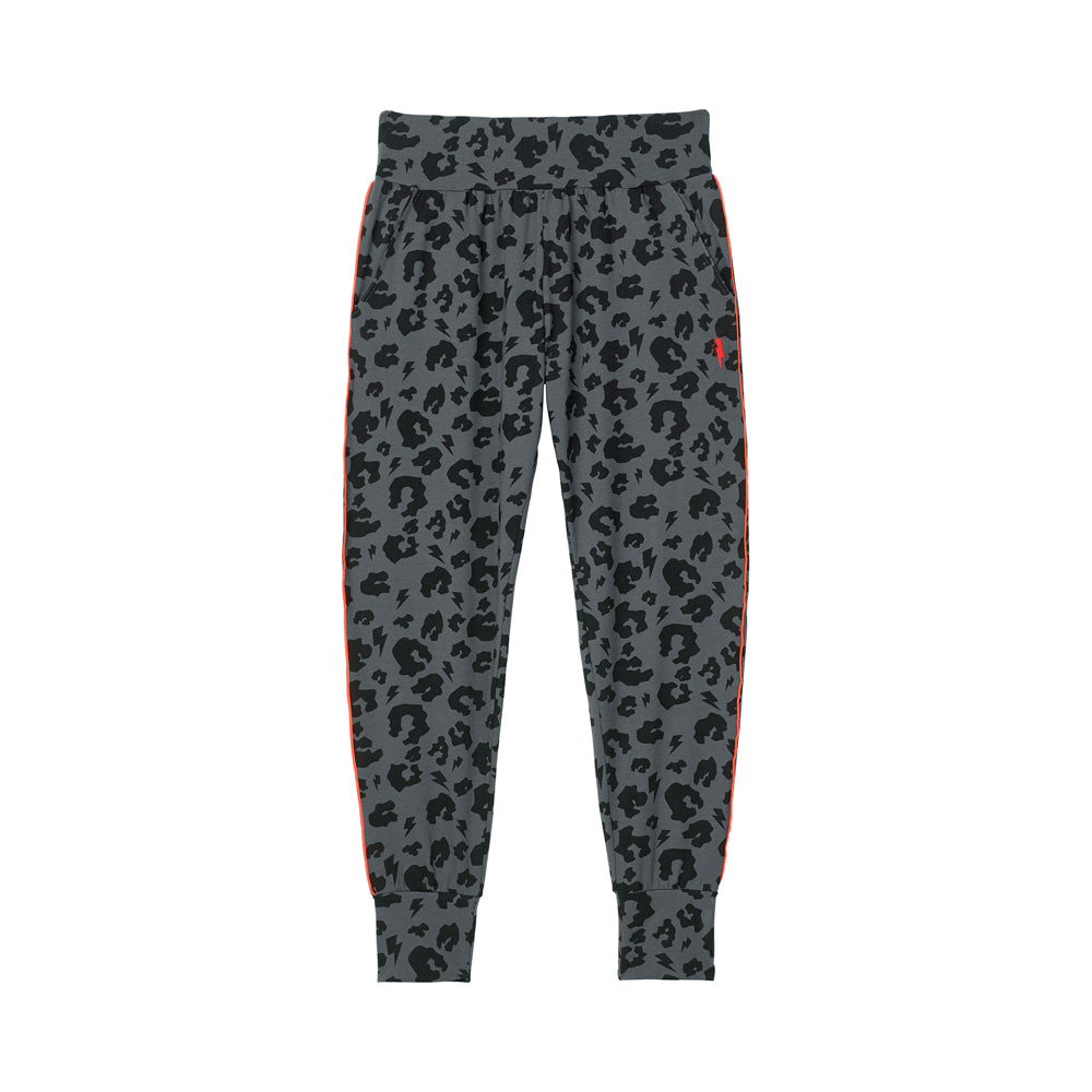 Scamp & Dude: Adult slouch joggers grey leopard and lightning bolt