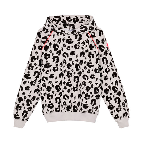 Scamp & Dude: Adult super soft hoodie - pale grey leopard and lightning bolt