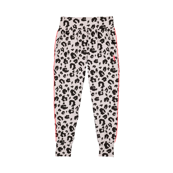 Scamp & Dude: Adult slouch joggers pale grey leopard and lightning bolt