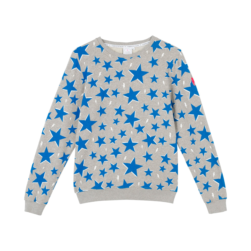 Scamp & Dude: Adult sweatshirt- electric blue star and lightning bolt