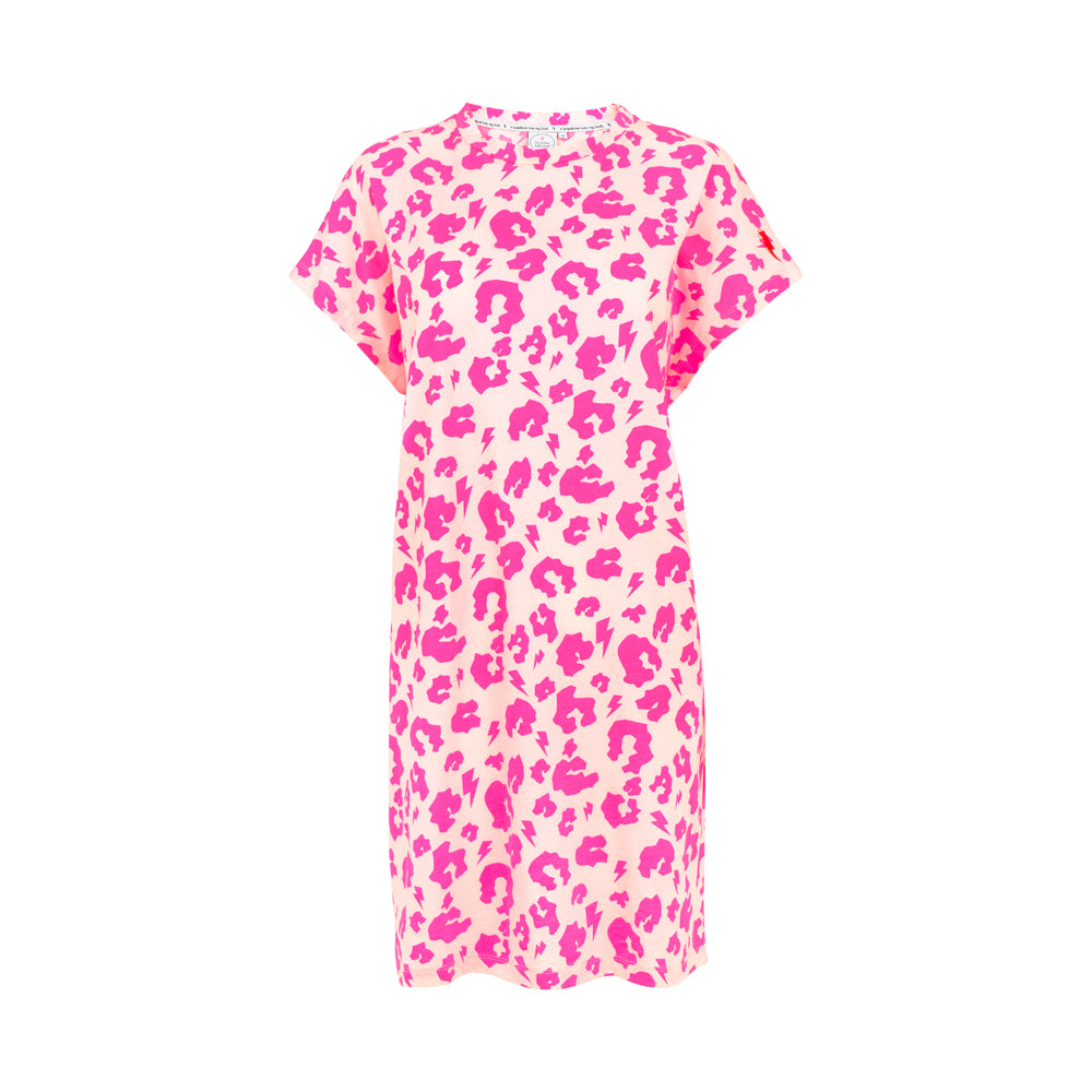 Scamp & Dude: Adult t-shirt dress - neon pink leopard and lightning bolt print