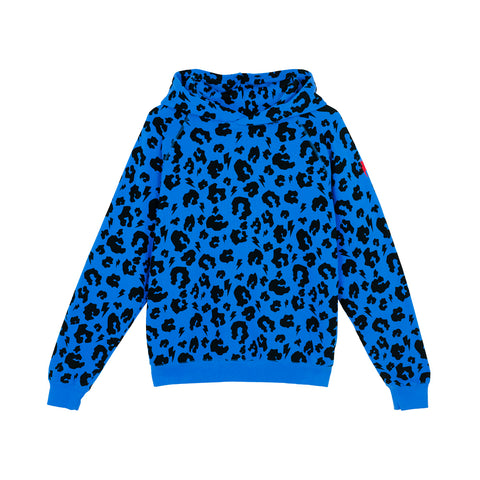 Scamp & Dude: Adult super soft hoodie - electric blue leopard and lightning bolt