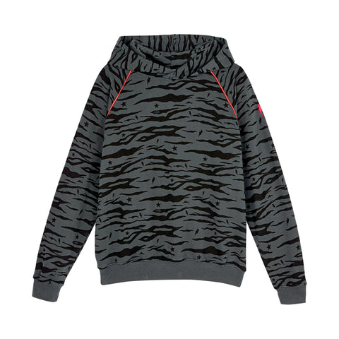 Scamp & Dude: Adult super soft hoodie - grey tiger with star and lightning bolt print