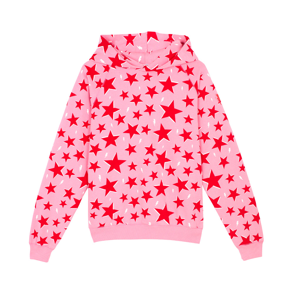 Adults super soft hoodie pink & red star and lightning bolt